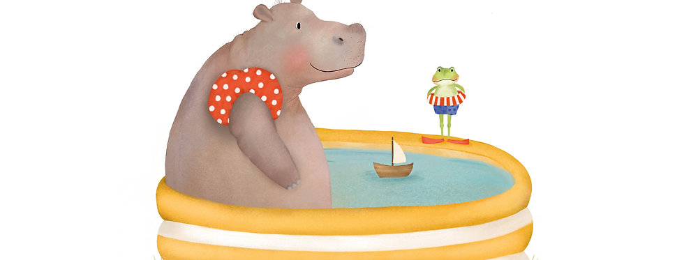 Nijlpaard in bad poster