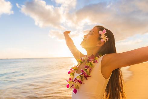 Hawaii hula luau woman wearing hawaiian