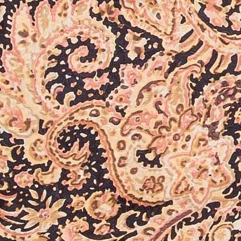 Gold and Black Paisley Jacquard Silk Scarf