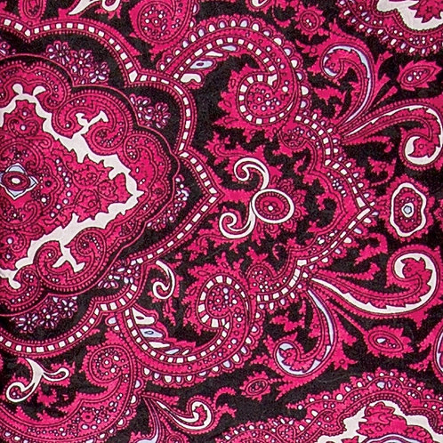 Red and Black Paisley Jacquard Silk Scarf