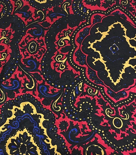 Red and Yellow Paisley Jacquard Silk Scarf
