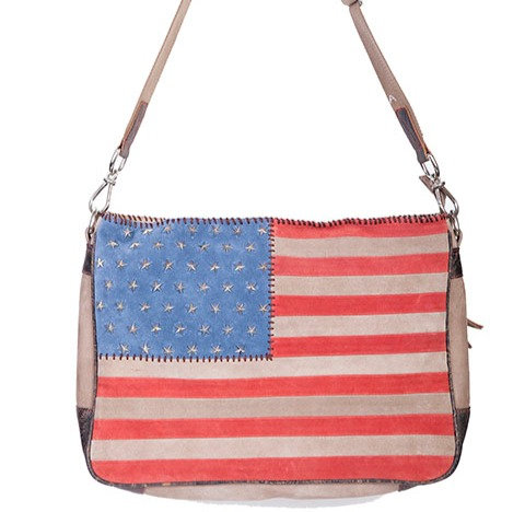 Scully Suede flag handbag with studded stars