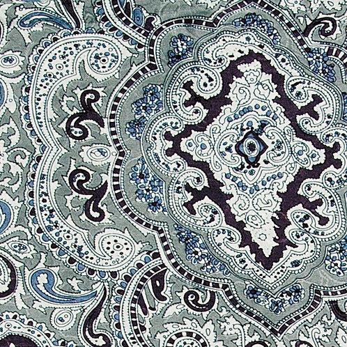 Silver and Black Paisley Jacquard Silk Scarf