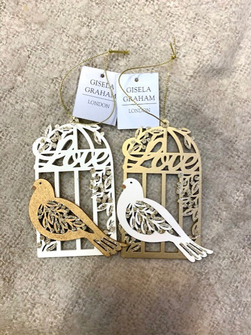 Gisela Graham Wooden White Bird Cage with Gold Dove