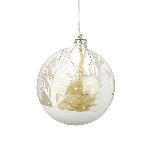 Light up Large Glass Bauble with Snowy Tree Scene