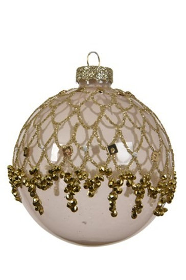 Glass Pearl Bauble with Sparkle and Gold Detail