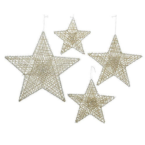 Set of 4 Iron Stars with Glitter Rope and Hanger - Gold