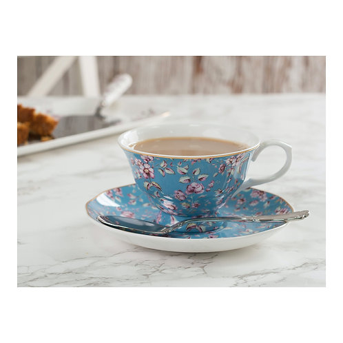 Katie Alice Ditsy Floral Cup and Saucer - Teal