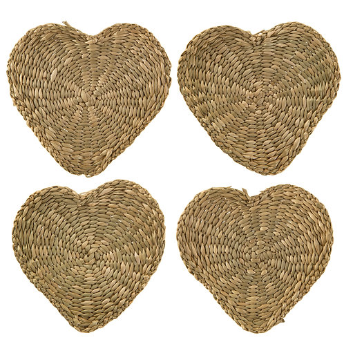 Sass & Belle Heart Seagrass Coasters - Set of 4