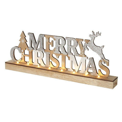 Wooden Light Up Merry Christmas Standing Plaque