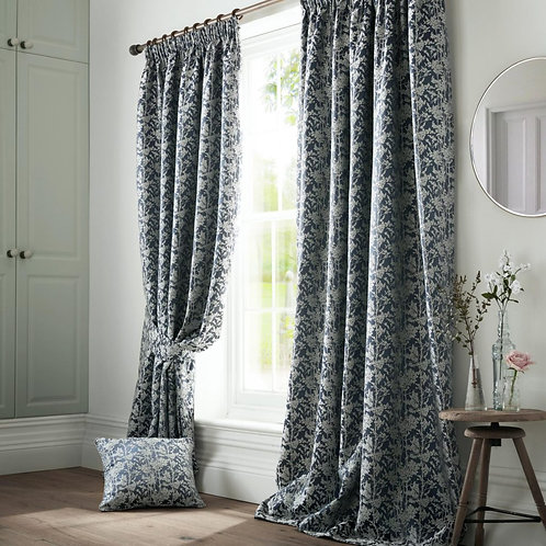 "Ashleigh Wilde Luxury Ready Made Curtains - Bayford - Blue Ink 66""x72"""