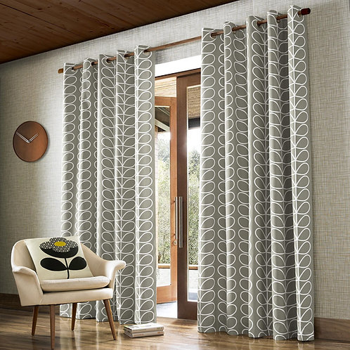 "Orla Kiely Ready Made Luxury Curtains Linear Stem Silver Design Eyelets 90""x72"""