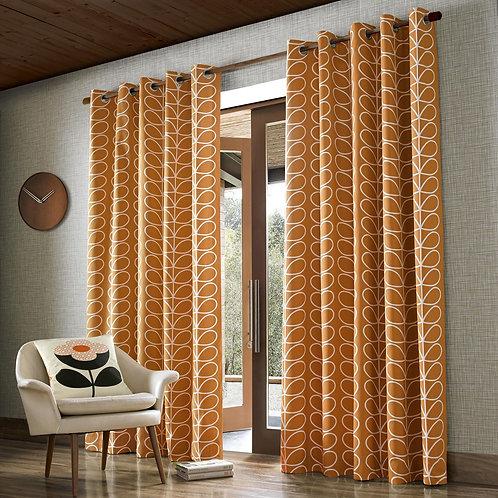 "Orla Kiely Ready Made Luxury Curtains Linear Stem Papaya Design Eyelets 90""x54"""