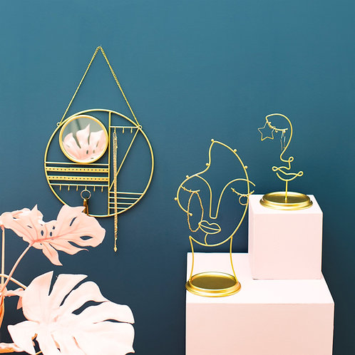 Sass & Belle Abstract Gold Jewellery Hanger and Mirror