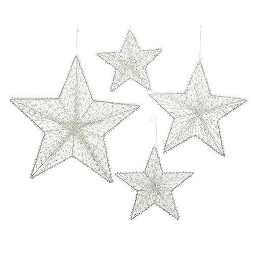 Set of 4 White and Silver Hanging Stars