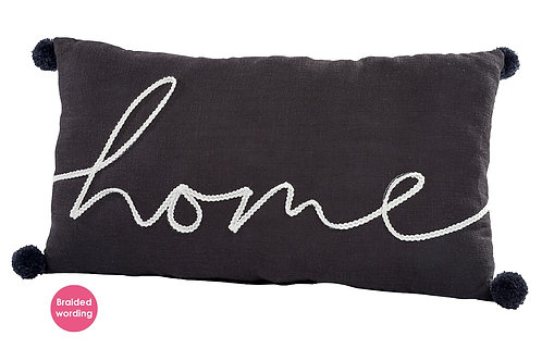 Home Oblong Cushion with Pom Poms