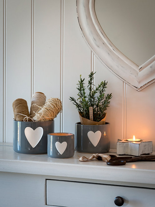 Small Grey Ceramic Pot with White Heart