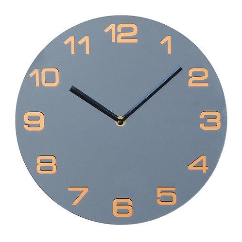 Hometime Gunmetal Mirror Glass Round Wall Clock