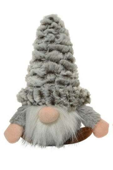Grey Gonk Pet Toy with Crinkly Hat and Squeaky Body
