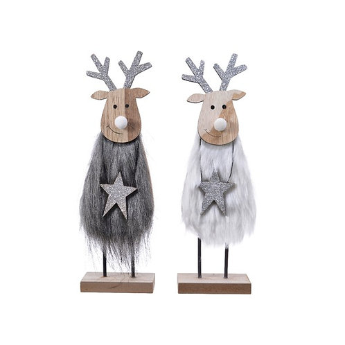 Furry Deer with Sparkly Star on Wooden Base - Grey
