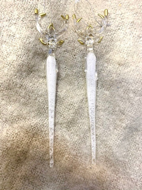 Glass Stag Icicle Hanging Decoration