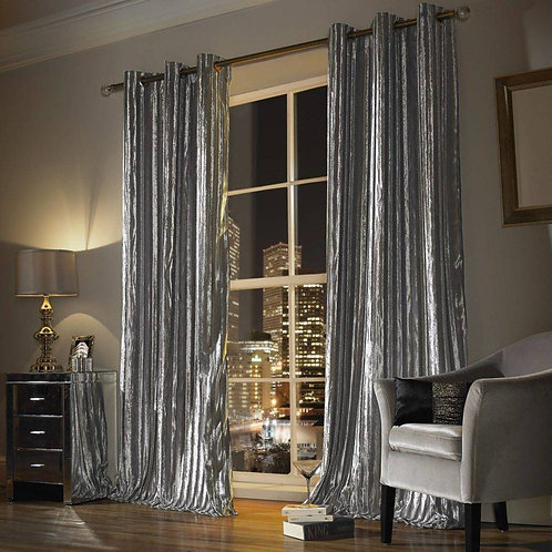 "Kylie Minogue Luxury Ready Made Curtains - Iliana - Silver ""66x72"""