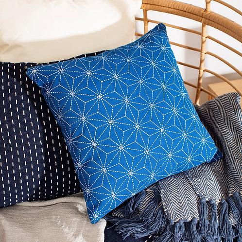 Sass and Belle Stitch Print Cobalt Blue Cushion