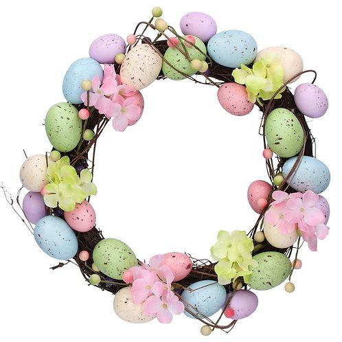 Gisela Graham Pastel Easter Egg and Flowers Wreath