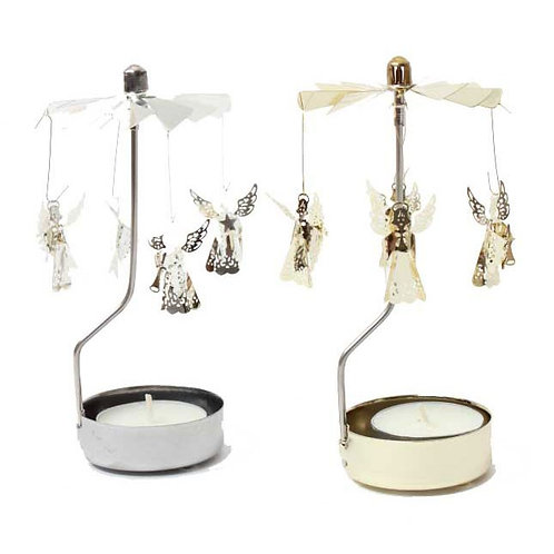 Metal Tea-Light Silver Angel Twirler