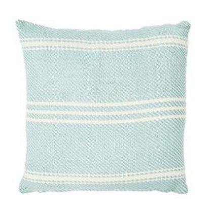 Weaver Green Oxford Stripe Teal Green Square Cushion 45cm x 45cm