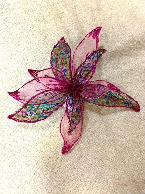 Hot Pink Glitter Wired Flower 30cm