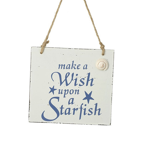 Heaven Sends Make a Wish Upon a Starfish Wooden Sign