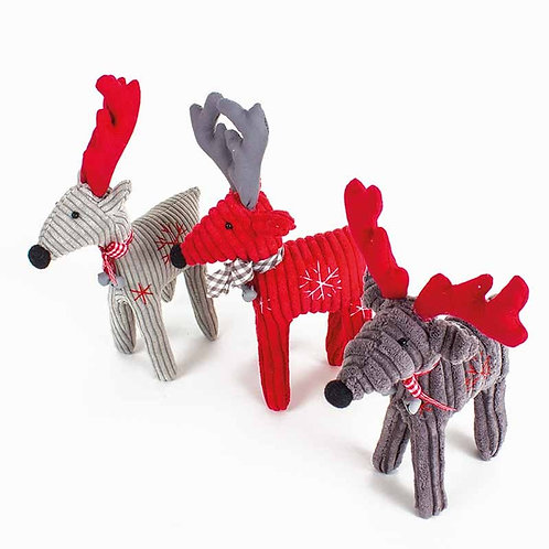 Fabric Standing Reindeer - Light Grey with Red Antlers