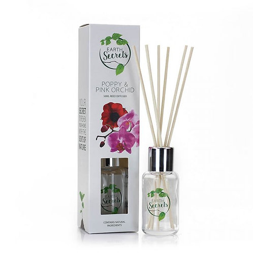 Earth Secrets: Reed Diffuser - Poppy and Pink Orchid 50ml