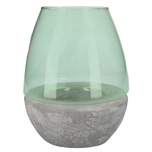 Green Glass Stone Effect T-Lite Holder 22cm