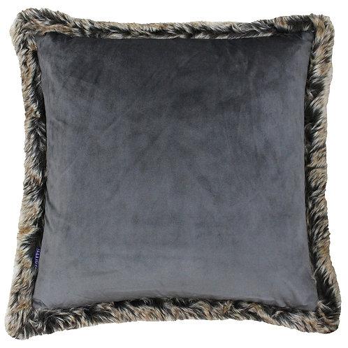 Kiruna Smoke Grey Cushion with Faux Fur by Riva Home 45x45cm