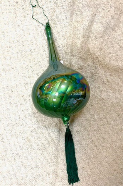 Extra Large Green Iridescent Tear drop Glass Bauble with Tassel