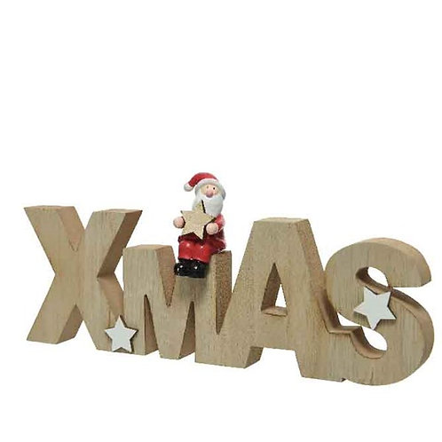 """Wooden """"Xmas"""" Sign with Father Christmas"""