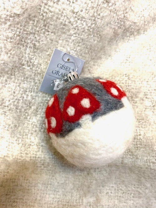 Gisela Graham Felted Toadstool Hanging Bauble