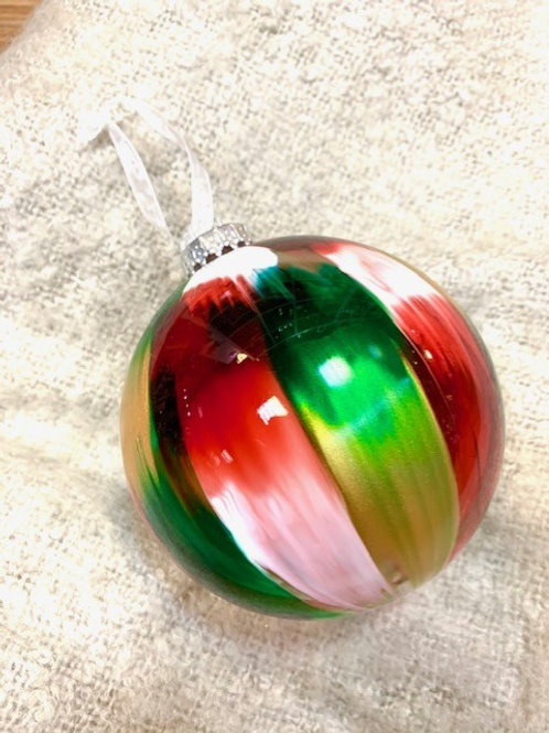Large Glass Green Red & Gold Bauble