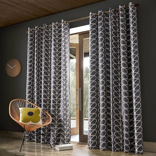 "Orla Kiely Ready Made Luxury Curtains Linear Stem Design Charcoal Eyelet 90""x72"""