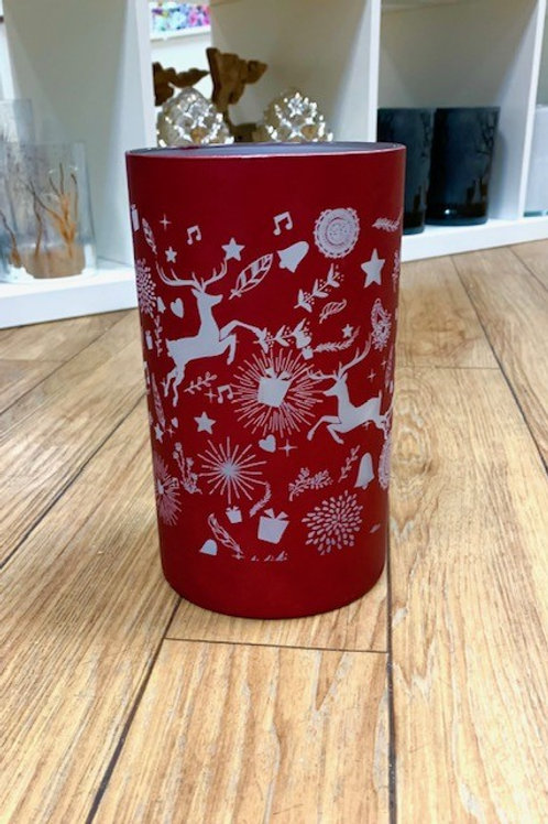 Matt Red Glass LED Lit Lantern with Stag Scene