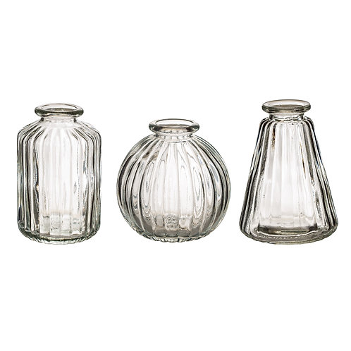 Sass and Belle Clear Glass Bud Vases - Set of Three