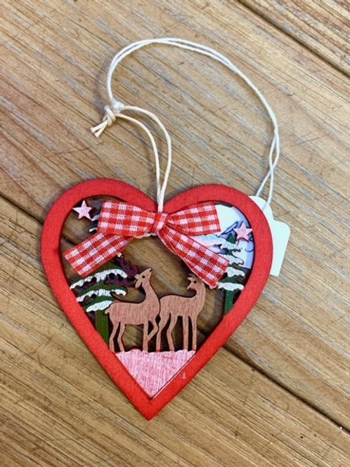 Hygge Nordic Wooden Red Gingham Heart with Two Reindeer