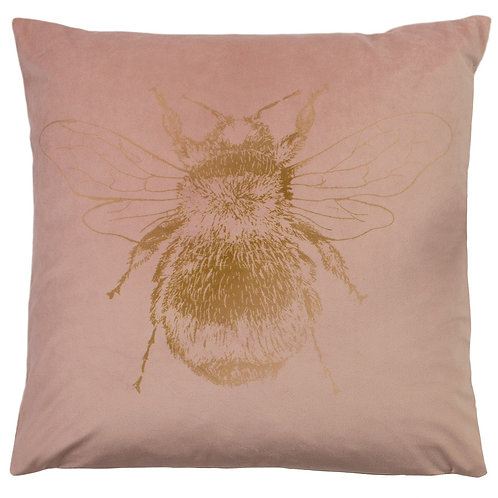 Nectar Bee Velvet Blush Pink Cushion by Riva Home 43x43cm