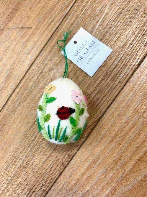Gisela Graham Easter Felted Egg Hanging Decoration - Ladybird