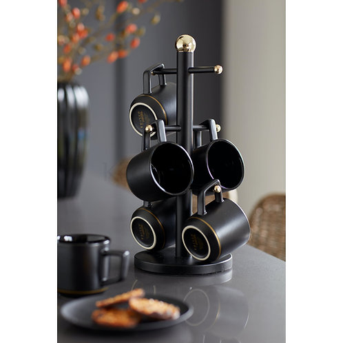 MasterClass Stainless Steel Matt Black and Brass Finish Mug Tree