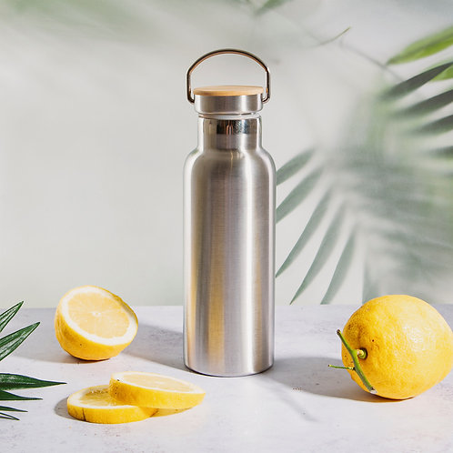 Sass & Belle Stainless Steel Water Bottle with Bamboo Lid