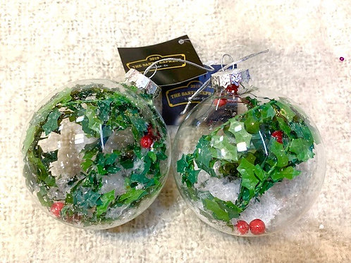 Clear Glass Bauble with Holly
