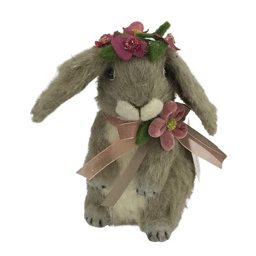 Heaven Sends Brush Easter Bunny Rabbit with Spring Flowers